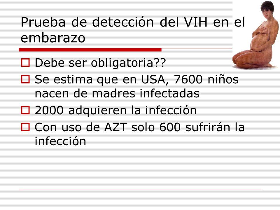 Prueba de detección del VIH en el embarazo Debe ser obligatoria?? Se estima que en USA, 7600 niños nacen de madres infectadas 2000 adquieren la infecc
