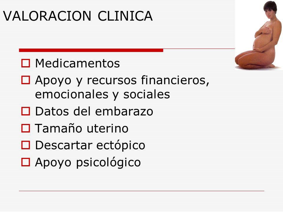 VALORACION CLINICA Medicamentos Apoyo y recursos financieros, emocionales y sociales Datos del embarazo Tamaño uterino Descartar ectópico Apoyo psicol