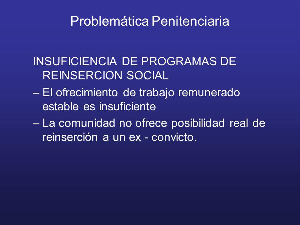 Problemática Penitenciaria INSUFICIENCIA DE PROGRAMAS DE REINSERCION SOCIAL –El ofrecimiento de trabajo remunerado estable es insuficiente –La comunidad no ofrece posibilidad real de reinserción a un ex - convicto.