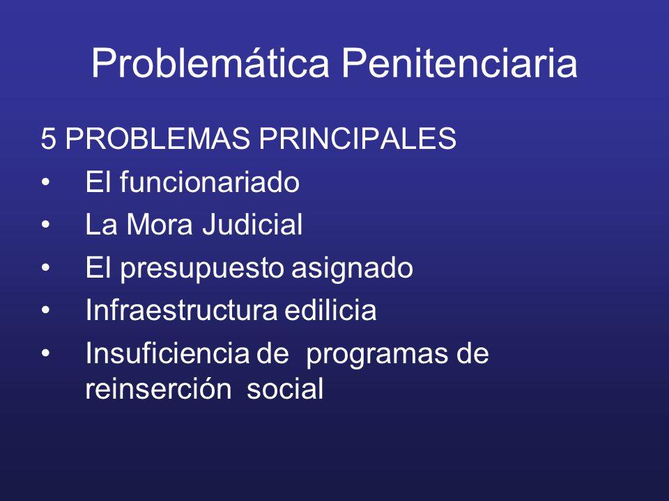 Problemática Penitenciaria 5 PROBLEMAS PRINCIPALES El funcionariado La Mora Judicial El presupuesto asignado Infraestructura edilicia Insuficiencia de programas de reinserción social