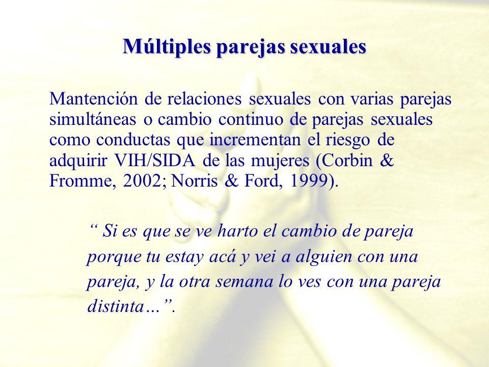 Múltiples parejas sexuales Mantención de relaciones sexuales con varias parejas simultáneas o cambio continuo de parejas sexuales como conductas que i