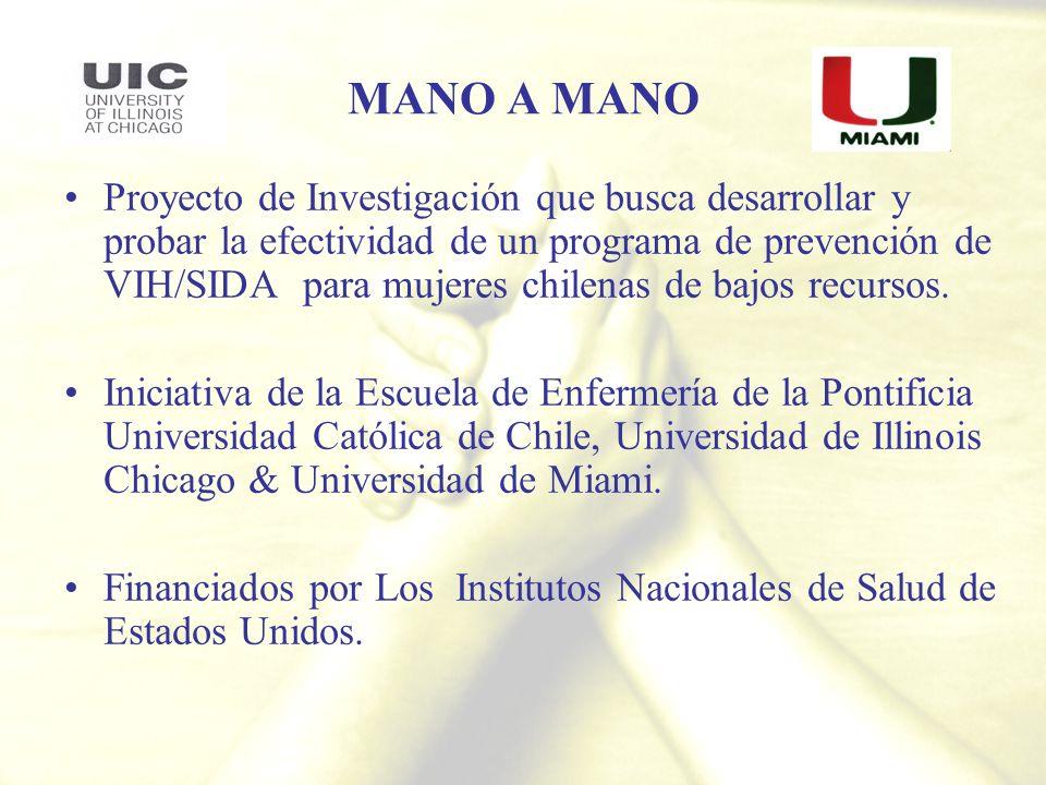 MANO A MANO Proyecto de Investigación que busca desarrollar y probar la efectividad de un programa de prevención de VIH/SIDA para mujeres chilenas de
