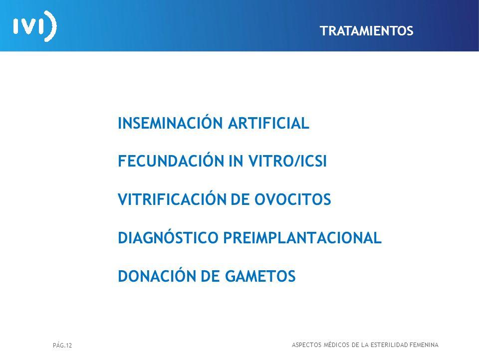 PÁG.12 INSEMINACIÓN ARTIFICIAL FECUNDACIÓN IN VITRO/ICSI VITRIFICACIÓN DE OVOCITOS DIAGNÓSTICO PREIMPLANTACIONAL DONACIÓN DE GAMETOS ASPECTOS MÉDICOS