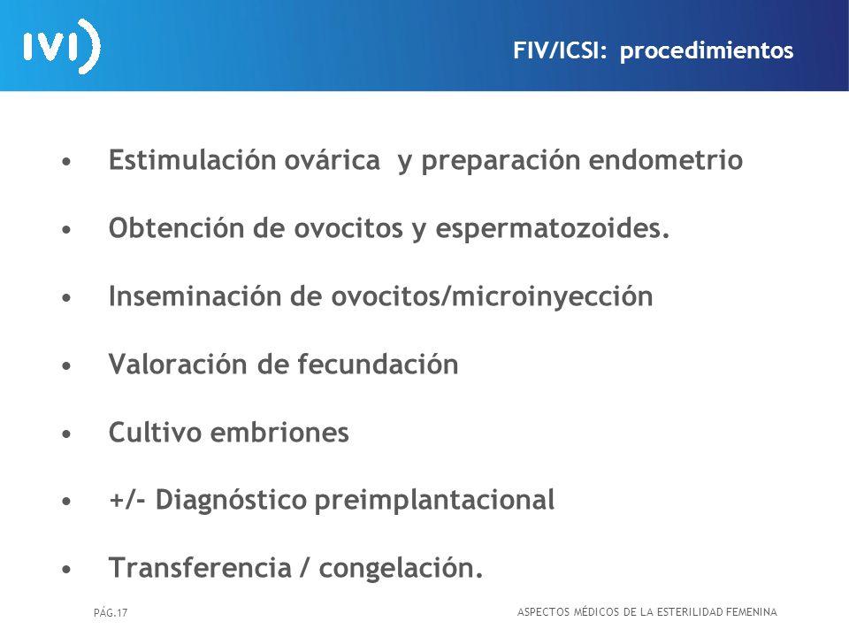 PÁG.17 Estimulación ovárica y preparación endometrio Obtención de ovocitos y espermatozoides. Inseminación de ovocitos/microinyección Valoración de fe