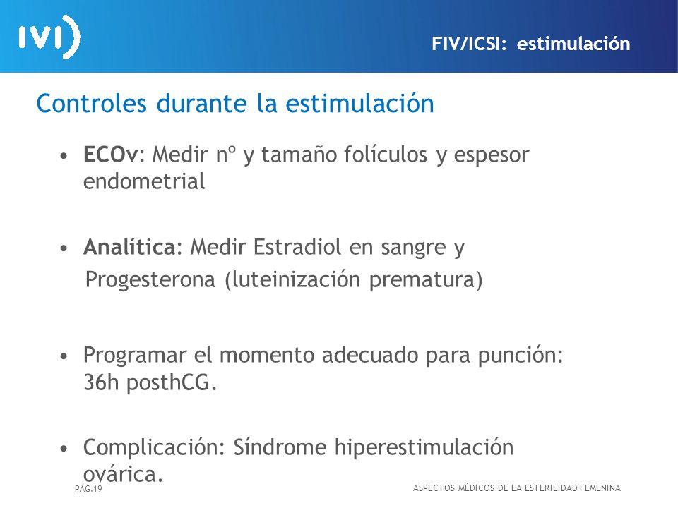 PÁG.19 Controles durante la estimulación ECOv: Medir nº y tamaño folículos y espesor endometrial Analítica: Medir Estradiol en sangre y Progesterona (