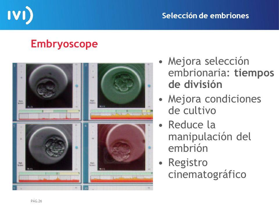 PÁG.26 Embryoscope Mejora selección embrionaria: tiempos de división Mejora condiciones de cultivo Reduce la manipulación del embrión Registro cinemat