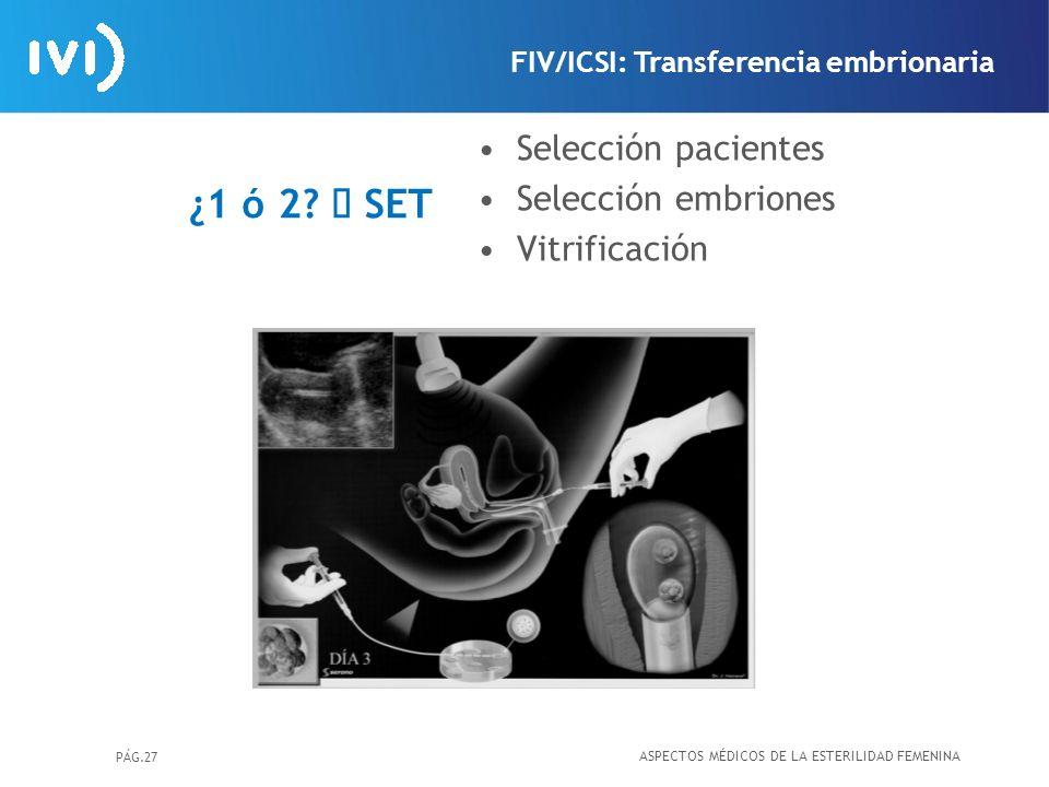 PÁG.27 ¿1 ó 2? SET Selección pacientes Selección embriones Vitrificación ASPECTOS MÉDICOS DE LA ESTERILIDAD FEMENINA FIV/ICSI: Transferencia embrionar
