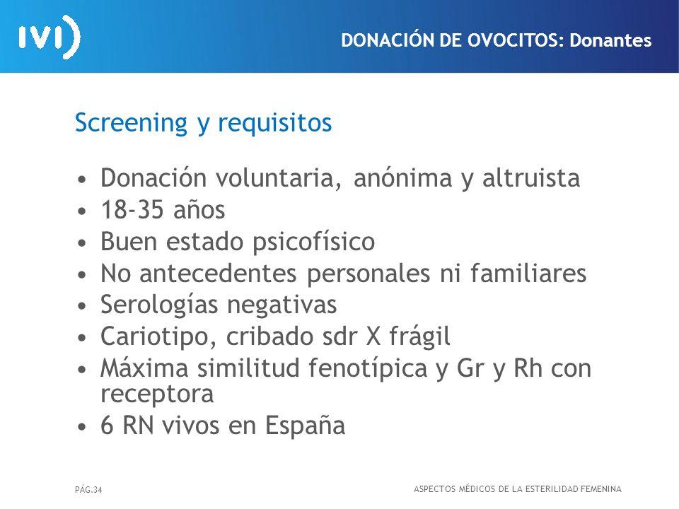 PÁG.34 Screening y requisitos Donación voluntaria, anónima y altruista 18-35 años Buen estado psicofísico No antecedentes personales ni familiares Ser