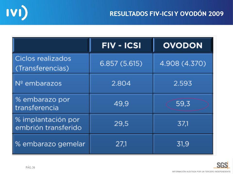 PÁG.36 RESULTADOS FIV-ICSI Y OVODÓN 2009