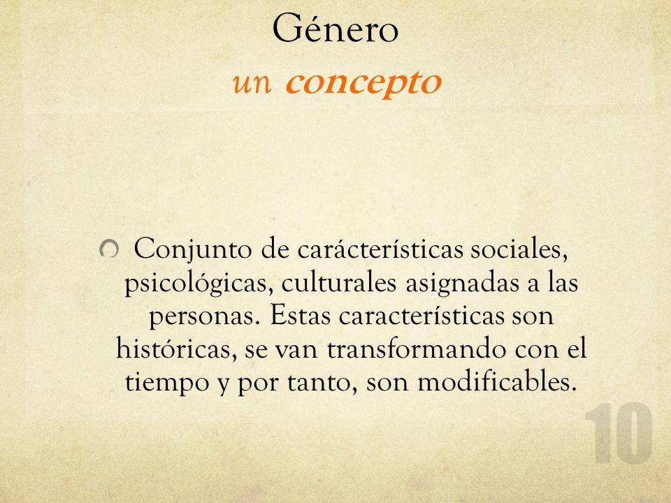 Género un concepto Conjunto de carácterísticas sociales, psicológicas, culturales asignadas a las personas. Estas características son históricas, se v