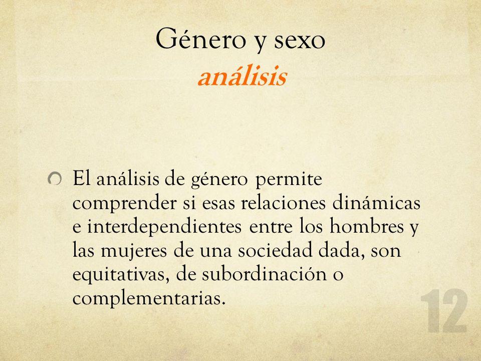 Género y sexo análisis El análisis de género permite comprender si esas relaciones dinámicas e interdependientes entre los hombres y las mujeres de un
