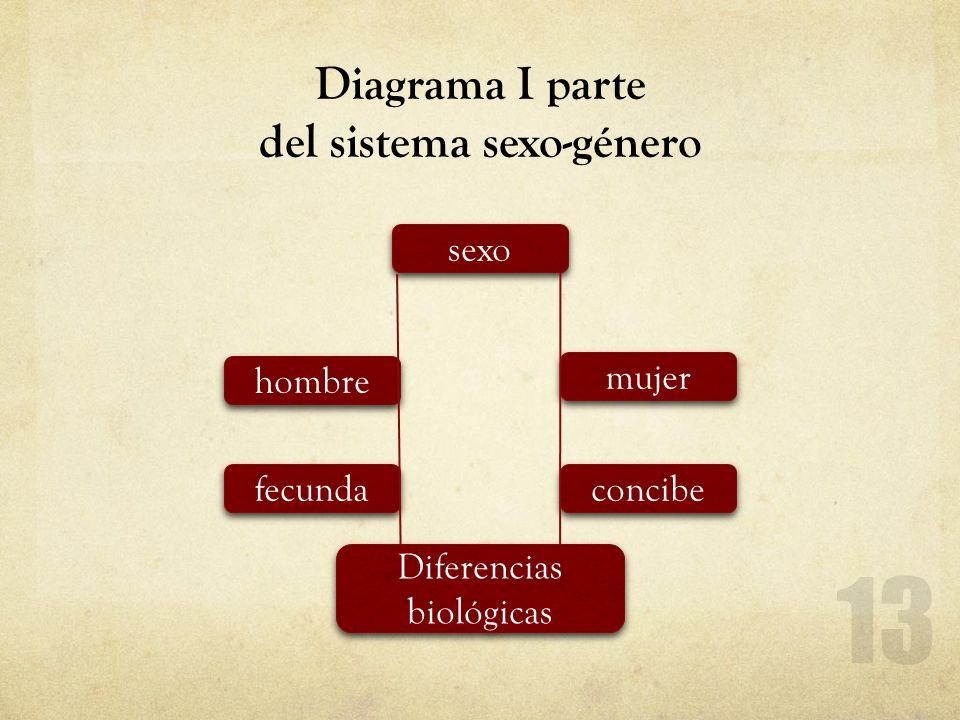 Diagrama I parte del sistema sexo-género sexo hombre fecunda mujer concibe Diferencias biológicas