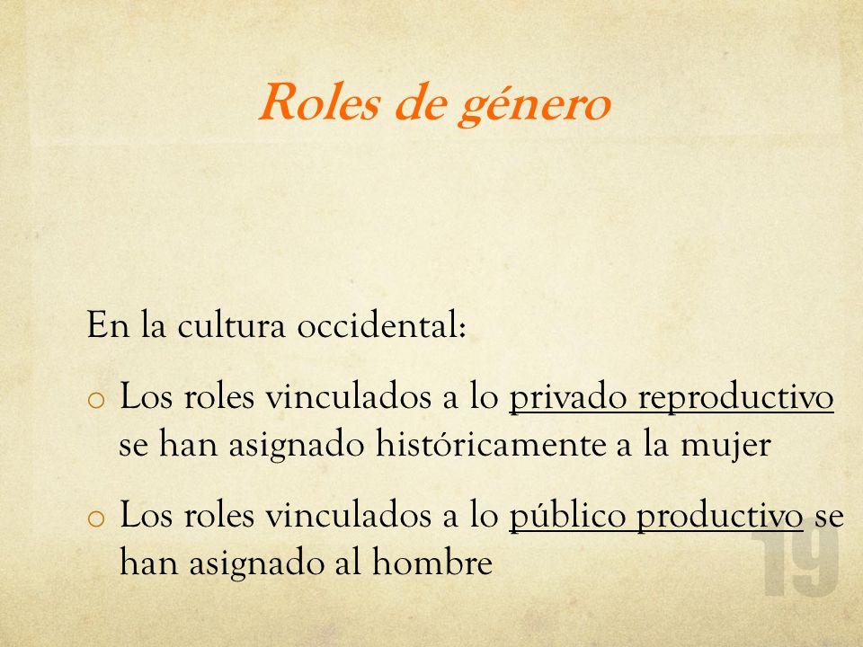 Roles de género En la cultura occidental: o Los roles vinculados a lo privado reproductivo se han asignado históricamente a la mujer o Los roles vincu
