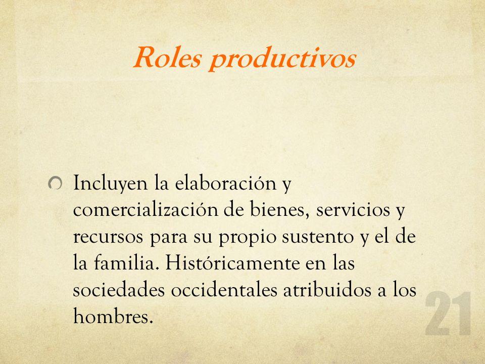 Roles productivos Incluyen la elaboración y comercialización de bienes, servicios y recursos para su propio sustento y el de la familia. Históricament