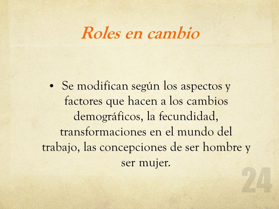 Roles en cambio Se modifican según los aspectos y factores que hacen a los cambios demográficos, la fecundidad, transformaciones en el mundo del traba