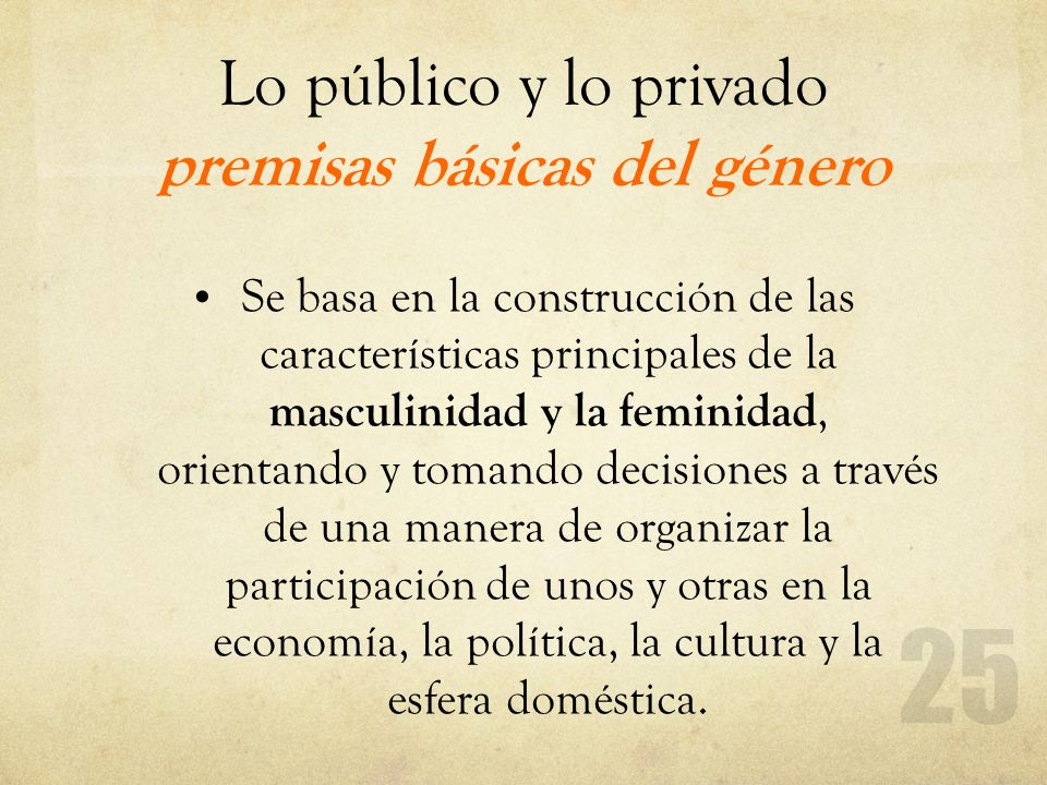 Lo público y lo privado premisas básicas del género Se basa en la construcción de las características principales de la masculinidad y la feminidad, o