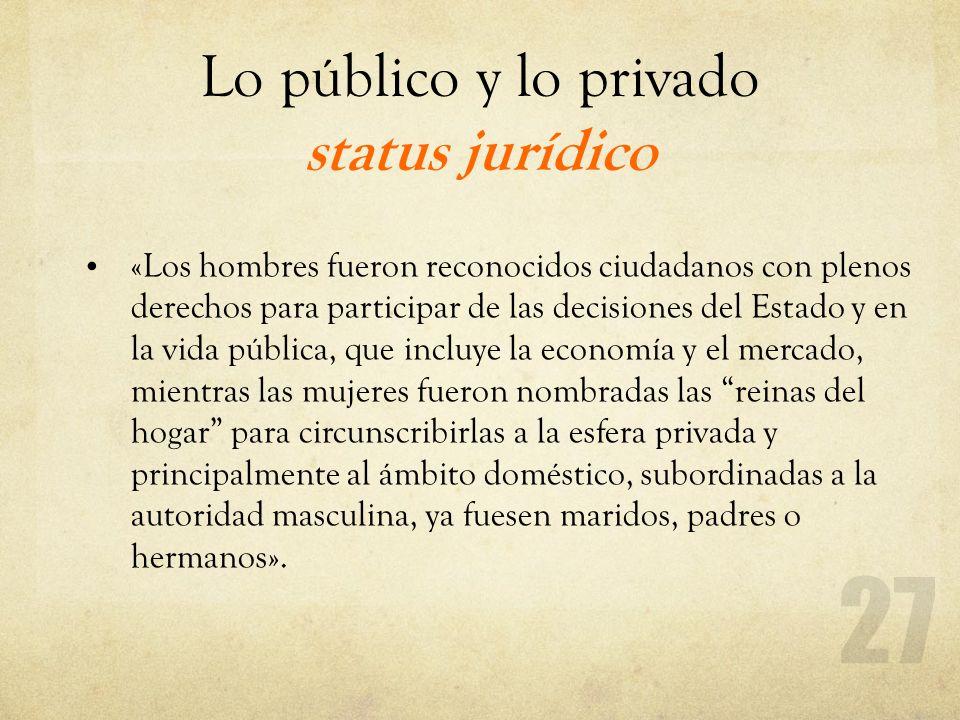 Lo público y lo privado status jurídico «Los hombres fueron reconocidos ciudadanos con plenos derechos para participar de las decisiones del Estado y
