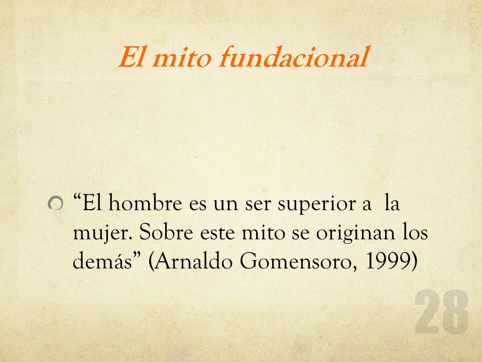 El mito fundacional El hombre es un ser superior a la mujer. Sobre este mito se originan los demás (Arnaldo Gomensoro, 1999)