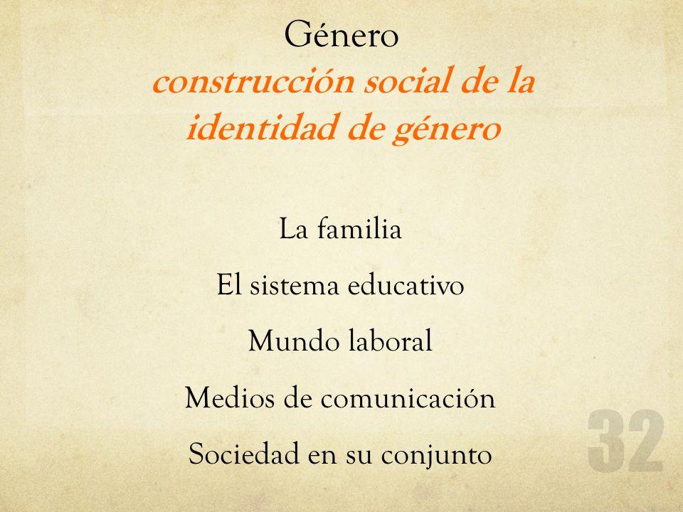 Género construcción social de la identidad de género La familia El sistema educativo Mundo laboral Medios de comunicación Sociedad en su conjunto