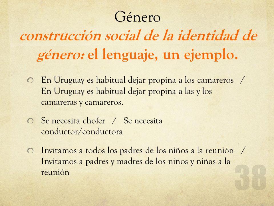 Género construcción social de la identidad de género: el lenguaje, un ejemplo. En Uruguay es habitual dejar propina a los camareros / En Uruguay es ha