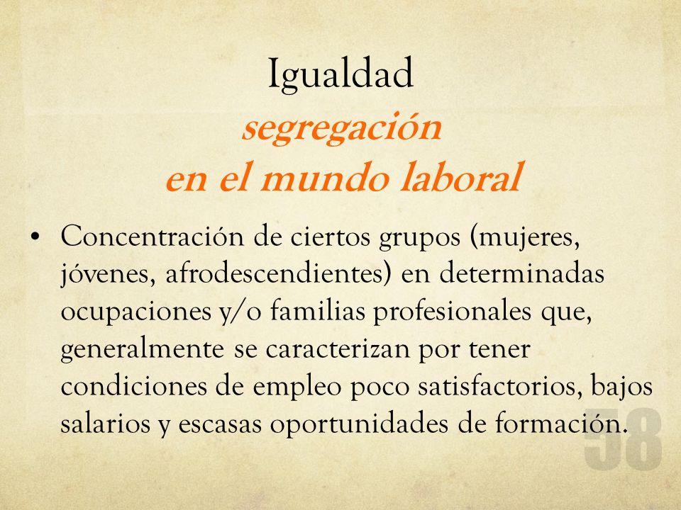 Igualdad segregación en el mundo laboral Concentración de ciertos grupos (mujeres, jóvenes, afrodescendientes) en determinadas ocupaciones y/o familia
