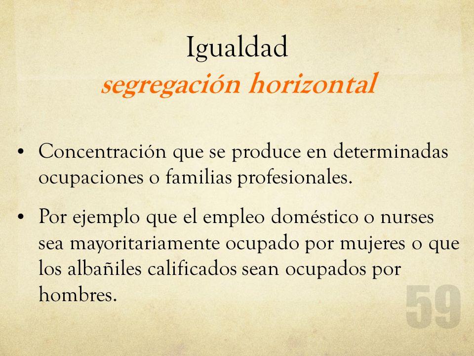 Igualdad segregación horizontal Concentración que se produce en determinadas ocupaciones o familias profesionales. Por ejemplo que el empleo doméstico