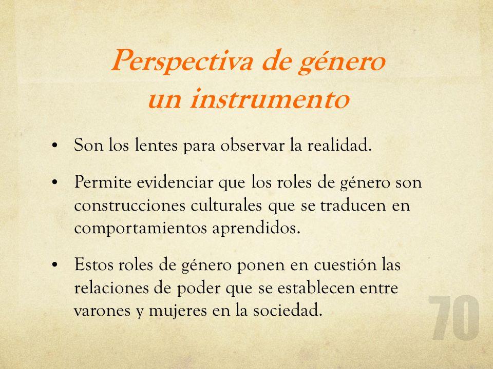 Perspectiva de género un instrumento Son los lentes para observar la realidad. Permite evidenciar que los roles de género son construcciones culturale