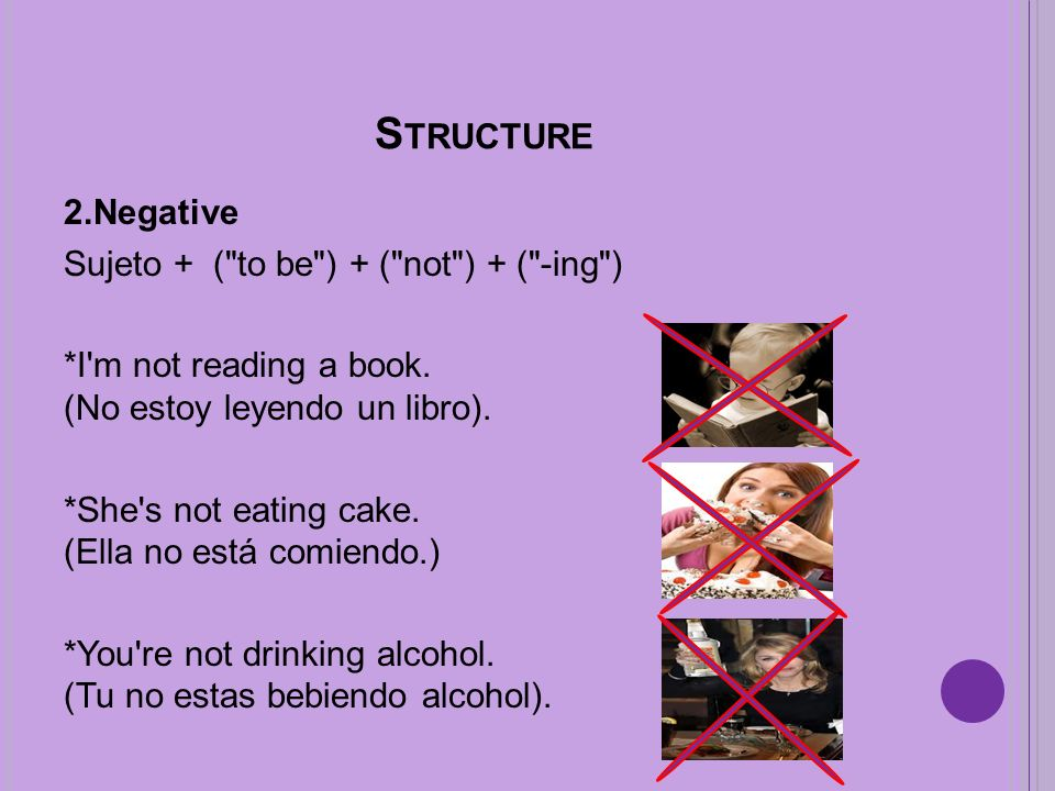 S TRUCTURE 2.Negative Sujeto + ( to be ) + ( not ) + ( -ing ) *I m not reading a book.