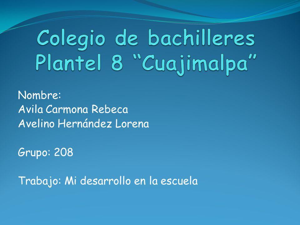 Nombre: Avila Carmona Rebeca Avelino Hernández Lorena Grupo: 208 Trabajo: Mi desarrollo en la escuela