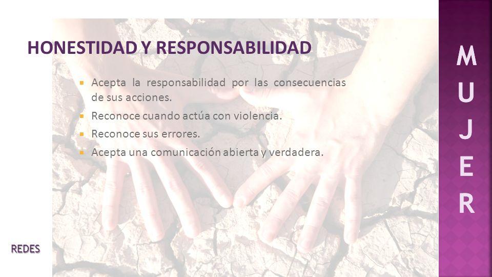 Acepta la responsabilidad por las consecuencias de sus acciones. Reconoce cuando actúa con violencia. Reconoce sus errores. Acepta una comunicación ab