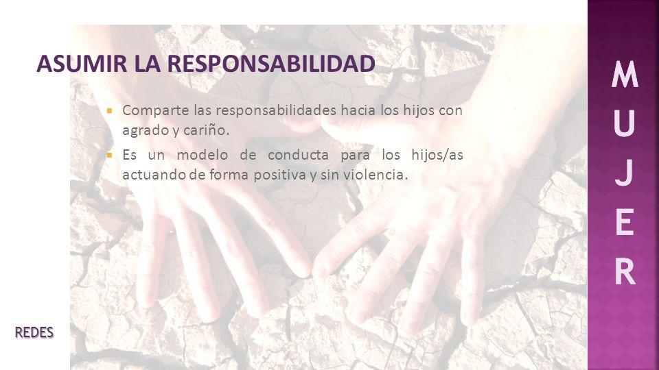 Comparte las responsabilidades hacia los hijos con agrado y cariño. Es un modelo de conducta para los hijos/as actuando de forma positiva y sin violen