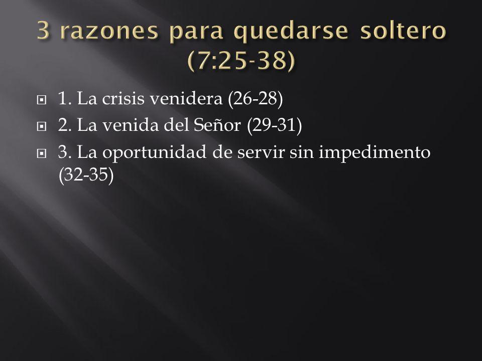 1. La crisis venidera (26-28) 2. La venida del Señor (29-31) 3. La oportunidad de servir sin impedimento (32-35)