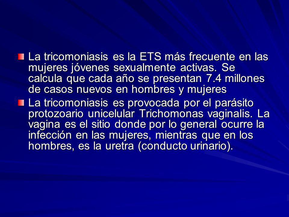 La tricomoniasis es la ETS más frecuente en las mujeres jóvenes sexualmente activas. Se calcula que cada año se presentan 7.4 millones de casos nuevos