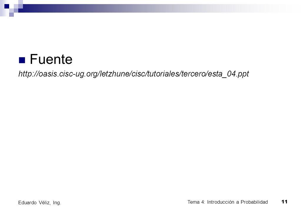 Tema 4: Introducción a Probabilidad11 Eduardo Véliz, Ing. Fuente http://oasis.cisc-ug.org/letzhune/cisc/tutoriales/tercero/esta_04.ppt