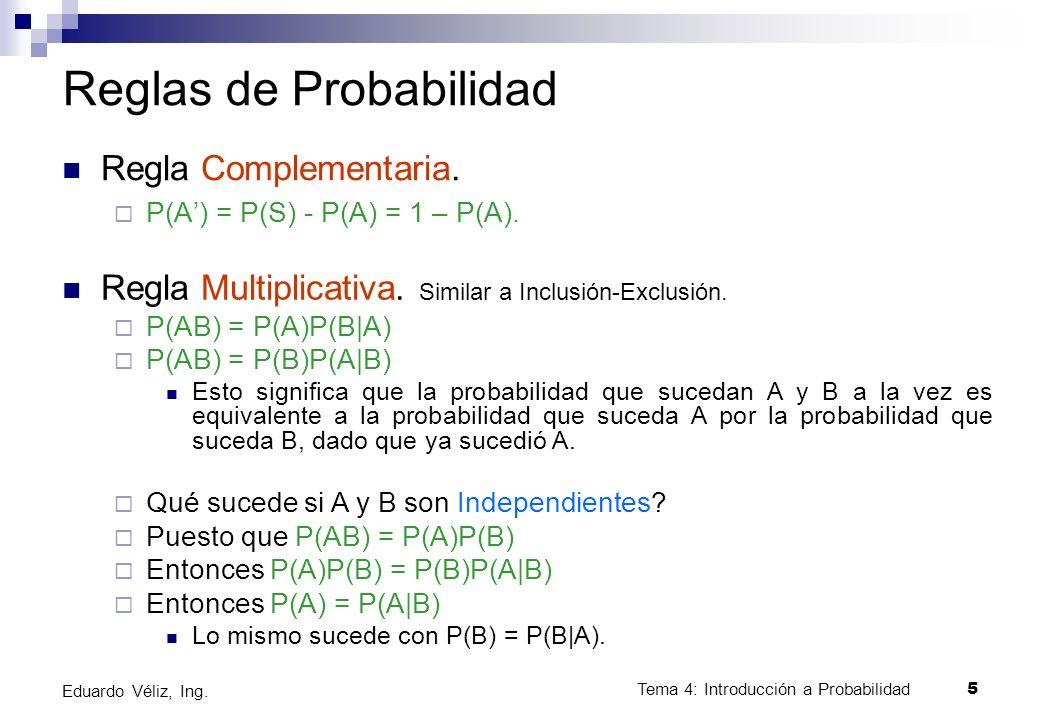Tema 4: Introducción a Probabilidad5 Eduardo Véliz, Ing. Reglas de Probabilidad Regla Complementaria. P(A) = P(S) - P(A) = 1 – P(A). Regla Multiplicat