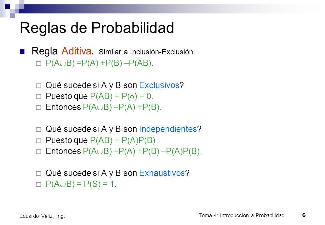 Tema 4: Introducción a Probabilidad6 Eduardo Véliz, Ing. Reglas de Probabilidad Regla Aditiva. Similar a Inclusión-Exclusión. P(A B) =P(A) +P(B) –P(AB