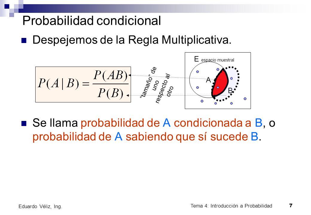 Tema 4: Introducción a Probabilidad7 Eduardo Véliz, Ing. Probabilidad condicional Despejemos de la Regla Multiplicativa. Se llama probabilidad de A co