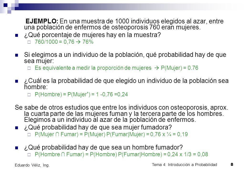 Tema 4: Introducción a Probabilidad8 Eduardo Véliz, Ing. EJEMPLO: En una muestra de 1000 individuos elegidos al azar, entre una población de enfermos