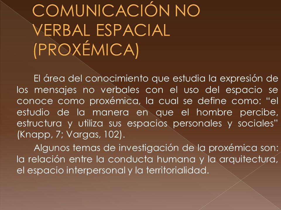 El área del conocimiento que estudia la expresión de los mensajes no verbales con el uso del espacio se conoce como proxémica, la cual se define como: el estudio de la manera en que el hombre percibe, estructura y utiliza sus espacios personales y sociales (Knapp, 7; Vargas, 102).