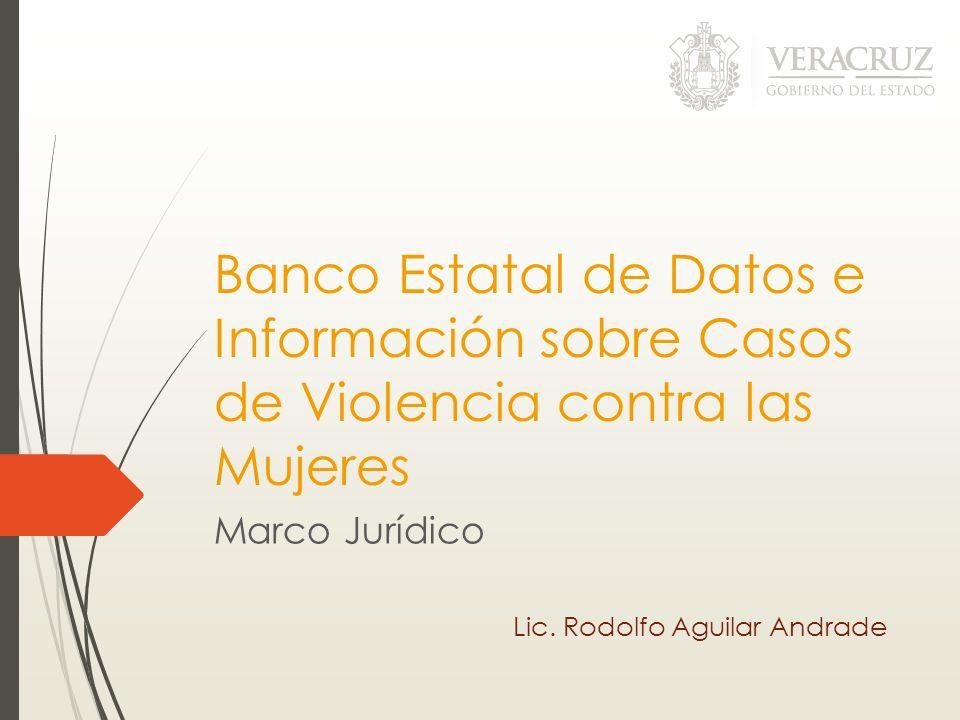 Banco Estatal de Datos e Información sobre Casos de Violencia contra las Mujeres Marco Jurídico Lic. Rodolfo Aguilar Andrade