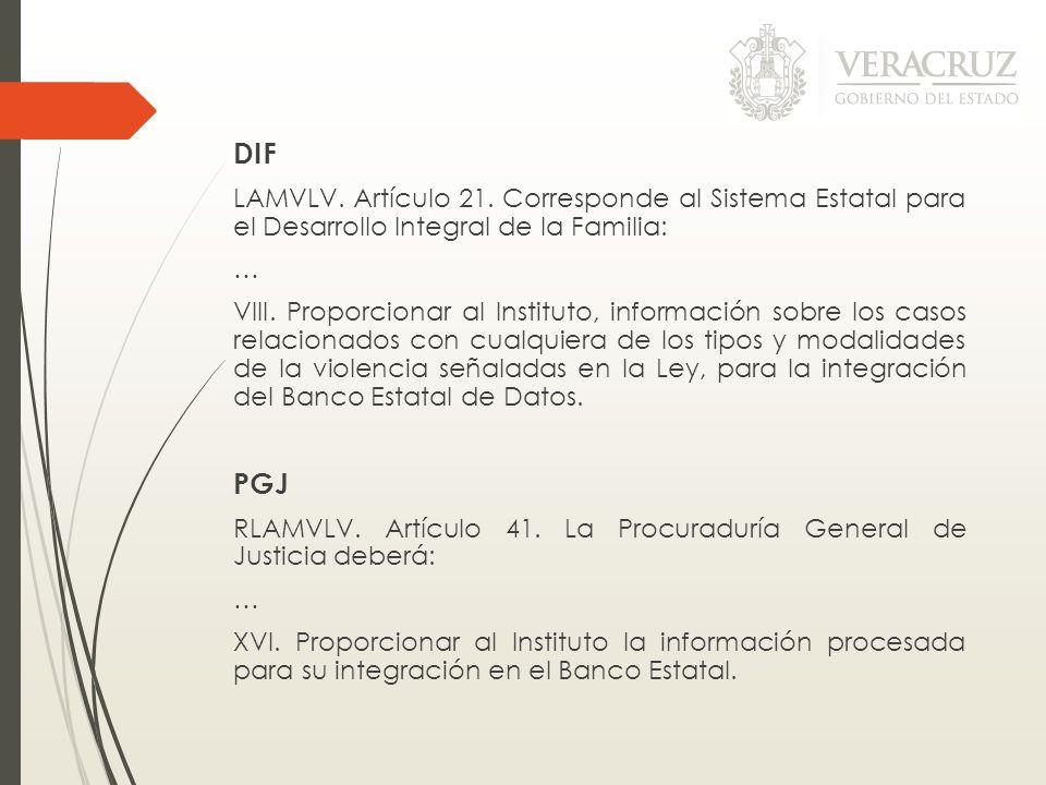 DIF LAMVLV. Artículo 21. Corresponde al Sistema Estatal para el Desarrollo Integral de la Familia: … VIII. Proporcionar al Instituto, información sobr