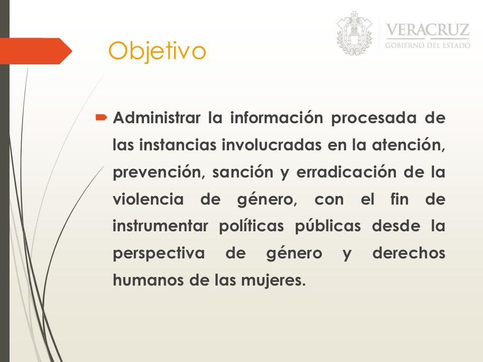 Objetivo Administrar la información procesada de las instancias involucradas en la atención, prevención, sanción y erradicación de la violencia de gén
