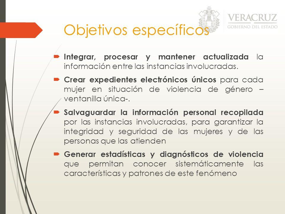 Objetivos específicos Integrar, procesar y mantener actualizada la información entre las instancias involucradas. Crear expedientes electrónicos único