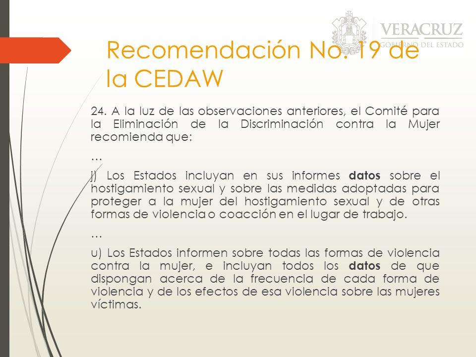 Recomendación No. 19 de la CEDAW 24. A la luz de las observaciones anteriores, el Comité para la Eliminación de la Discriminación contra la Mujer reco