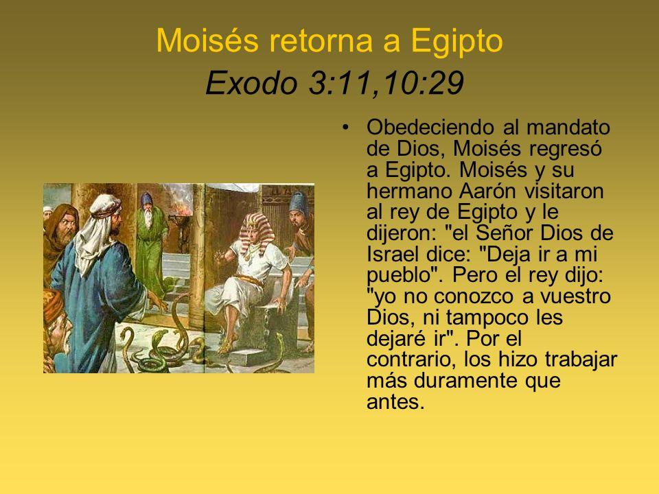 Moisés retorna a Egipto Exodo 3:11,10:29 Obedeciendo al mandato de Dios, Moisés regresó a Egipto. Moisés y su hermano Aarón visitaron al rey de Egipto