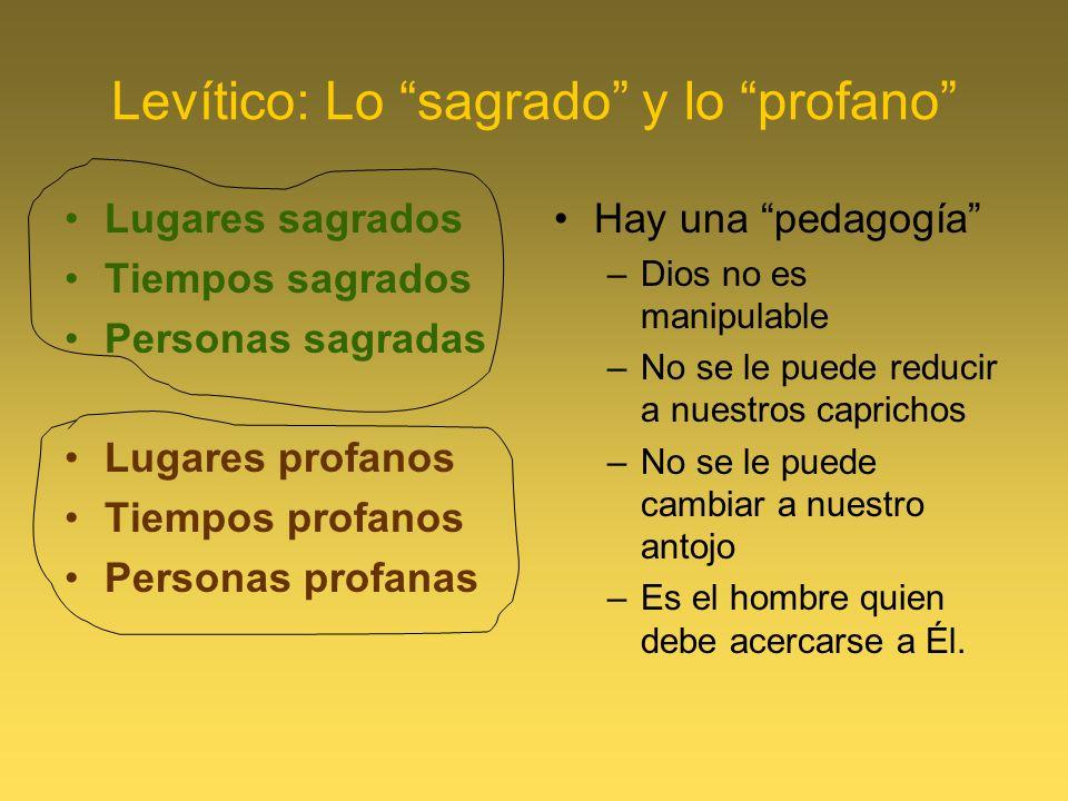 Levítico: Lo sagrado y lo profano Lugares sagrados Tiempos sagrados Personas sagradas Lugares profanos Tiempos profanos Personas profanas Hay una peda