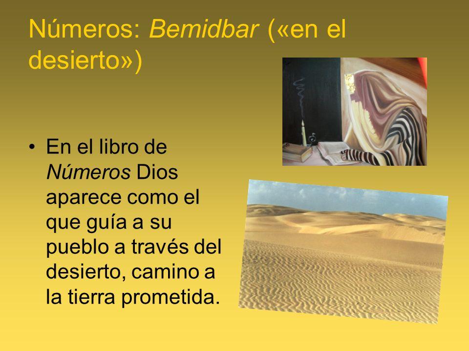 Números: Bemidbar («en el desierto») En el libro de Números Dios aparece como el que guía a su pueblo a través del desierto, camino a la tierra promet