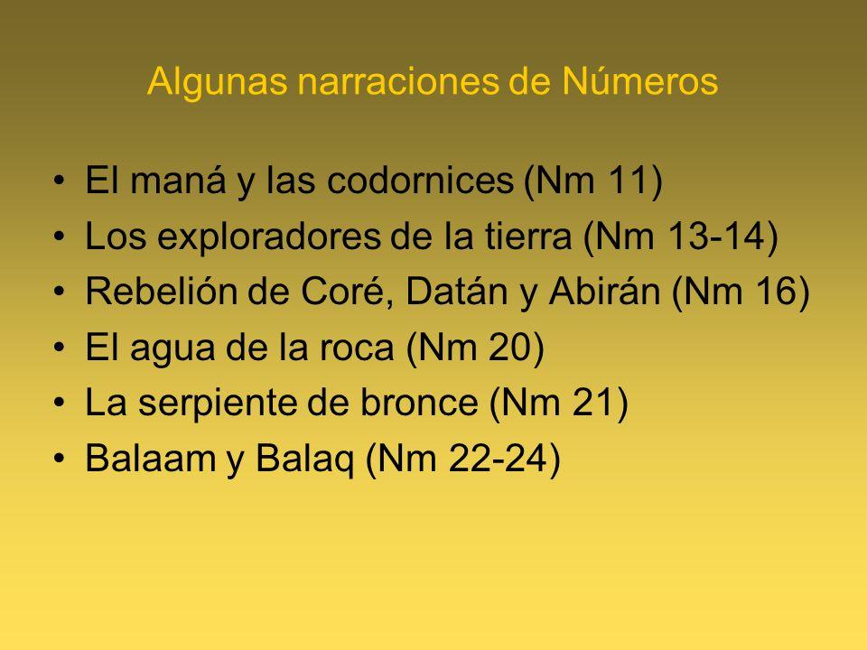 Algunas narraciones de Números El maná y las codornices (Nm 11) Los exploradores de la tierra (Nm 13-14) Rebelión de Coré, Datán y Abirán (Nm 16) El agua de la roca (Nm 20) La serpiente de bronce (Nm 21) Balaam y Balaq (Nm 22-24)