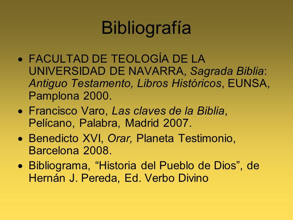 Bibliografía FACULTAD DE TEOLOGÍA DE LA UNIVERSIDAD DE NAVARRA, Sagrada Biblia: Antiguo Testamento, Libros Históricos, EUNSA, Pamplona 2000. Francisco