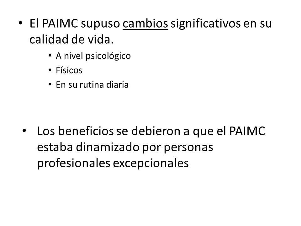 El PAIMC supuso cambios significativos en su calidad de vida.